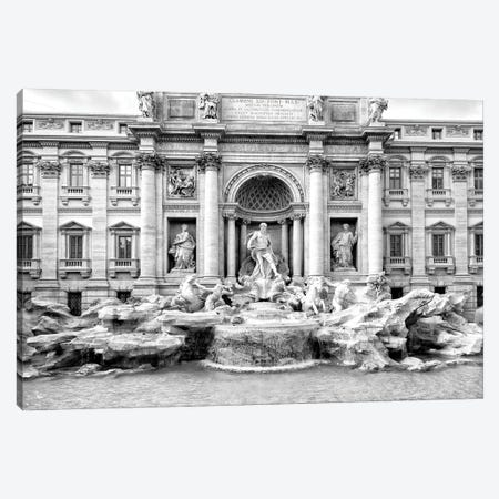 Dolce Vita Rome - Trevi Fountain In Black & White Canvas Print #PHD508} by Philippe Hugonnard Art Print
