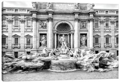 Trevi Fountain In Black & White Canvas Art Print
