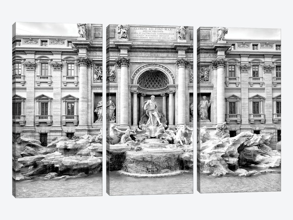 Trevi Fountain In Black & White by Philippe Hugonnard 3-piece Canvas Artwork