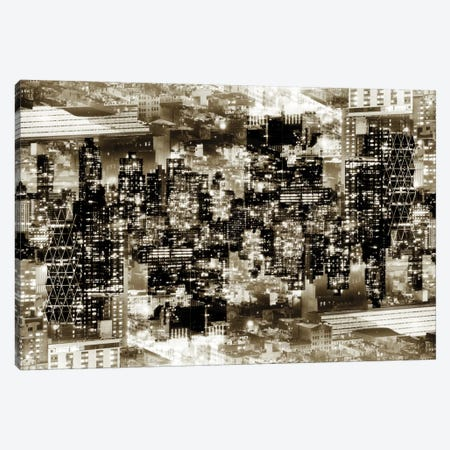 New York Reflection - Midtown Manhattan - Sepia Canvas Print #PHD50} by Philippe Hugonnard Art Print
