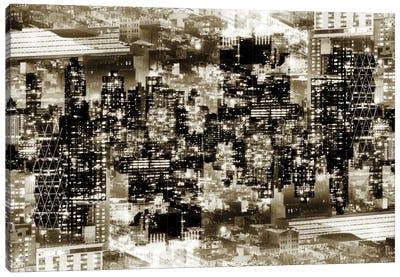 New York Reflection - Midtown Manhattan - Sepia Canvas Art Print