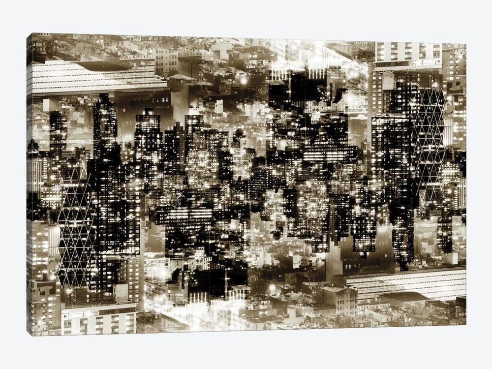 New York Reflection - Midtown Manhattan - Sepia by Philippe Hugonnard 1-piece Canvas Print