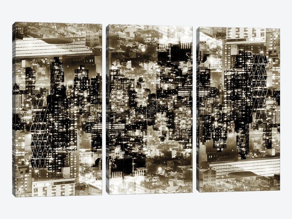 New York Reflection - Midtown Manhattan - Sepia 3-piece Art Print