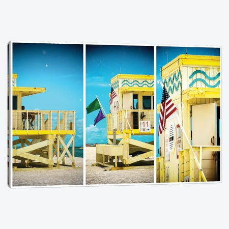 Miami Triptych - Coast Guard Beach House Canvas Print #PHD519} by Philippe Hugonnard Canvas Art