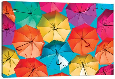 Colourful Umbrellas  - Turquoise Sky Canvas Art Print