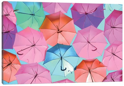 Colourful Umbrellas  - Light Pink Canvas Art Print