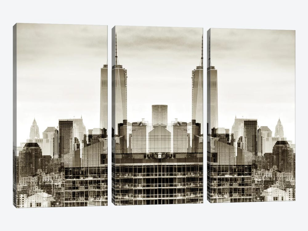 New York Reflection - One World Trade Center 3-piece Canvas Art Print