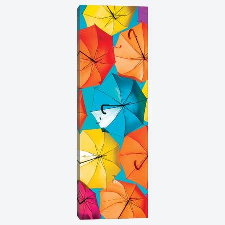 Colourful Umbrellas  - Turquoise Sky Canvas Print #PHD534} by Philippe Hugonnard Canvas Print