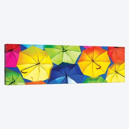 Colourful Umbrellas  - Dark Blue Sky Canvas Print #PHD535} by Philippe Hugonnard Canvas Print