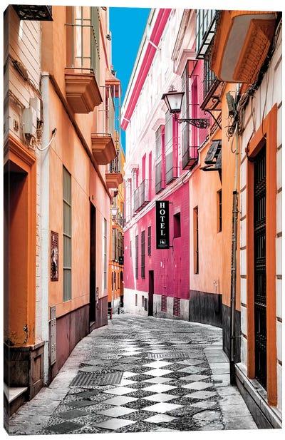 Colourful Pedestrian Street in Seville I Canvas Art Print
