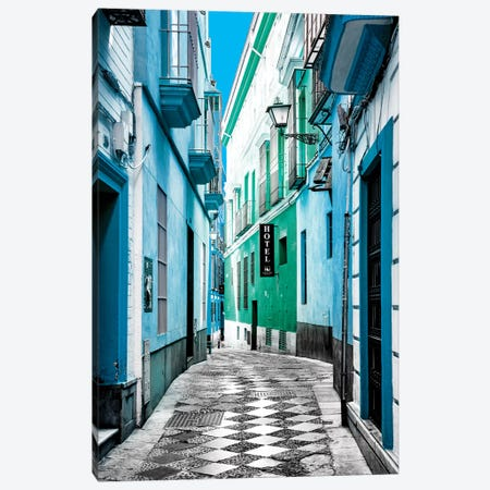 Colourful Pedestrian Street in Seville II Canvas Print #PHD545} by Philippe Hugonnard Canvas Artwork