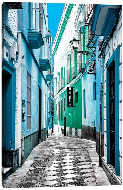 Colourful Pedestrian Street in Seville II Canvas Art Print