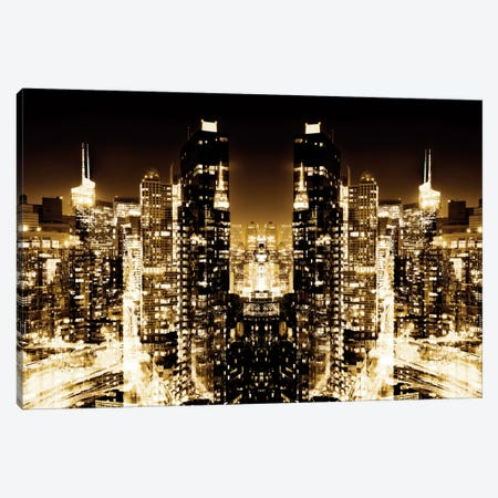 New York Reflection - Skyline at Golden Night Canvas Print #PHD54} by Philippe Hugonnard Canvas Artwork