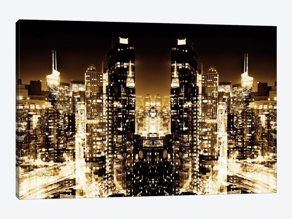 New York Reflection - Skyline at Golden Night 1-piece Canvas Art Print