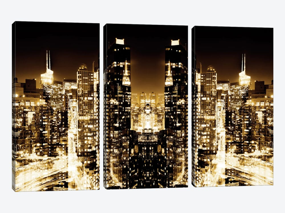 New York Reflection - Skyline at Golden Night 3-piece Art Print