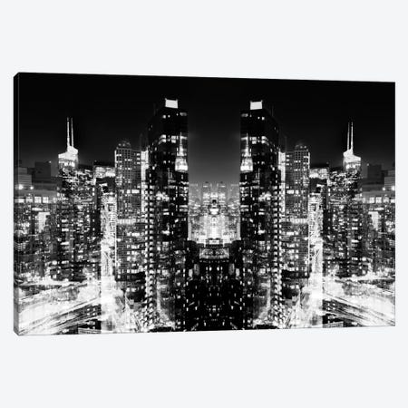 New York Reflection - Skyline at Night - BW Canvas Print #PHD55} by Philippe Hugonnard Canvas Wall Art
