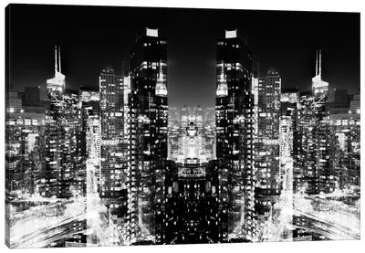 New York Reflection - Skyline at Night - BW Canvas Art Print