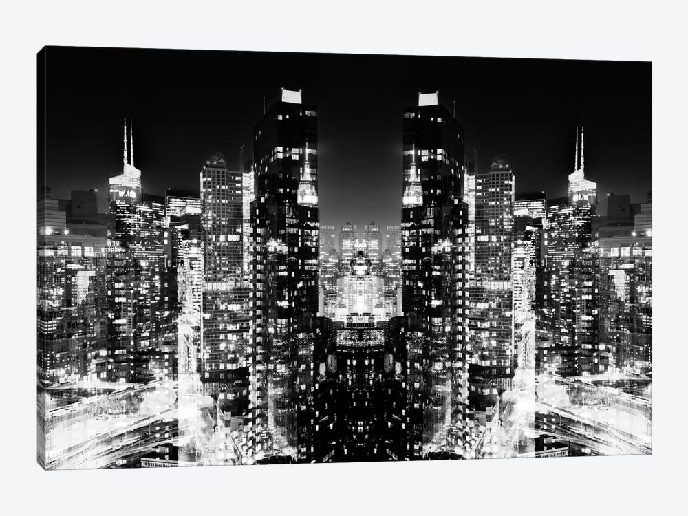 New York Reflection - Skyline at Night - BW by Philippe Hugonnard 1-piece Canvas Wall Art