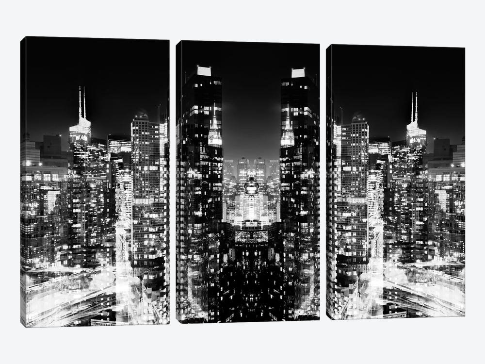 New York Reflection - Skyline at Night - BW by Philippe Hugonnard 3-piece Canvas Wall Art
