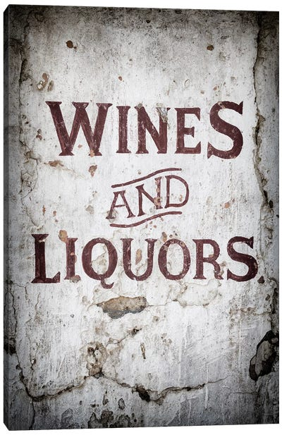 Wines and Liquors Sign Canvas Art Print
