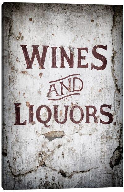 Wines and Liquors Sign Canvas Art Print