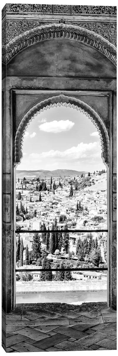 View Of The City Of Granada In Black & White Canvas Art Print