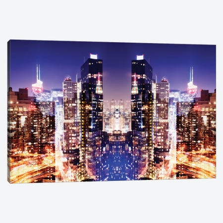 New York Reflection - Skyline at Night Canvas Print #PHD56} by Philippe Hugonnard Canvas Artwork