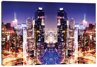 New York Reflection - Skyline at Night Canvas Art Print