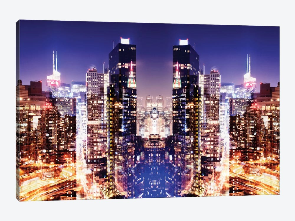 New York Reflection - Skyline at Night by Philippe Hugonnard 1-piece Canvas Print
