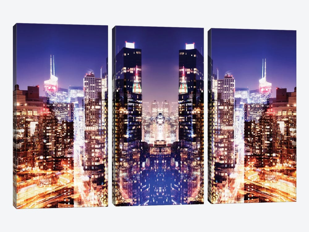New York Reflection - Skyline at Night by Philippe Hugonnard 3-piece Canvas Print