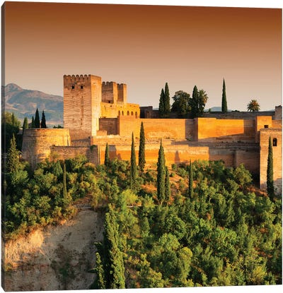 Sunset over The Alhambra Canvas Art Print