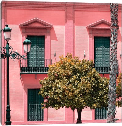 Spanish Pink Architecture Canvas Art Print