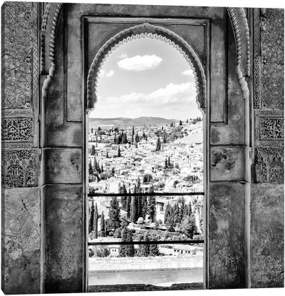 View of the city of Granada B&W Canvas Art Print