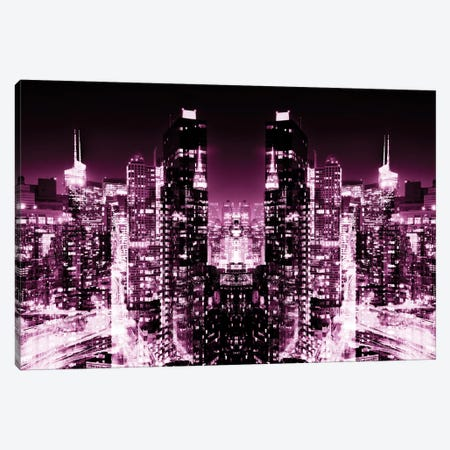New York Reflection - Skyline at Pink Night Canvas Print #PHD57} by Philippe Hugonnard Canvas Art