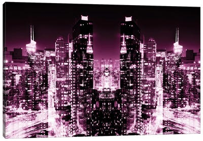New York Reflection - Skyline at Pink Night Canvas Art Print