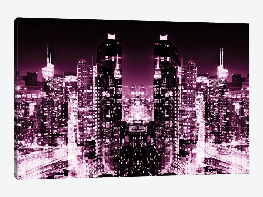 New York Reflection - Skyline at Pink Night by Philippe Hugonnard 1-piece Canvas Wall Art