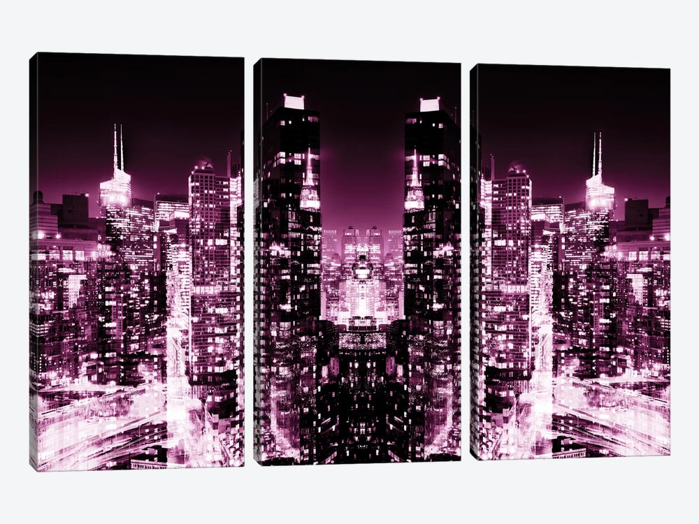 New York Reflection - Skyline at Pink Night by Philippe Hugonnard 3-piece Canvas Artwork