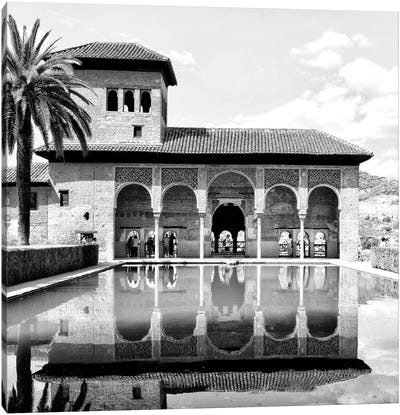 The Partal Gardens of Alhambra in B&W Canvas Art Print