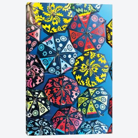 Colourful Umbrellas Sky Canvas Print #PHD585} by Philippe Hugonnard Canvas Art