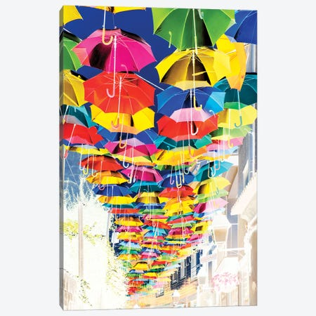 Colourful Umbrellas Sky II Canvas Print #PHD586} by Philippe Hugonnard Canvas Wall Art
