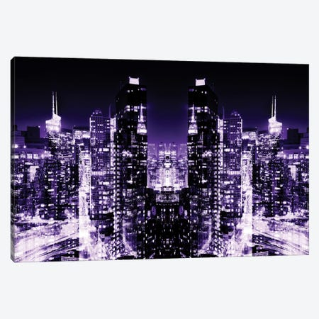 New York Reflection - Skyline at Purple Night Canvas Print #PHD58} by Philippe Hugonnard Canvas Print