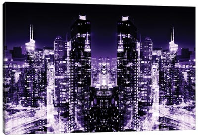 New York Reflection - Skyline at Purple Night Canvas Print #PHD58
