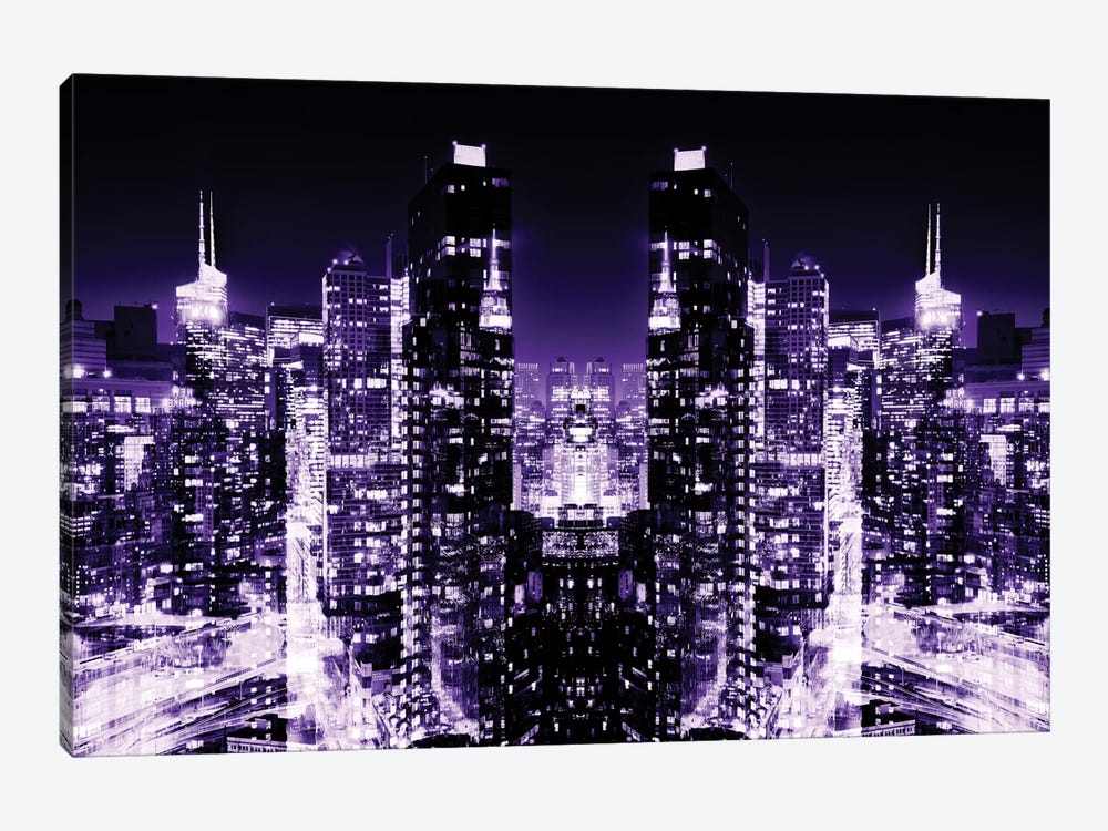 New York Reflection - Skyline at Purple Night by Philippe Hugonnard 1-piece Canvas Art Print