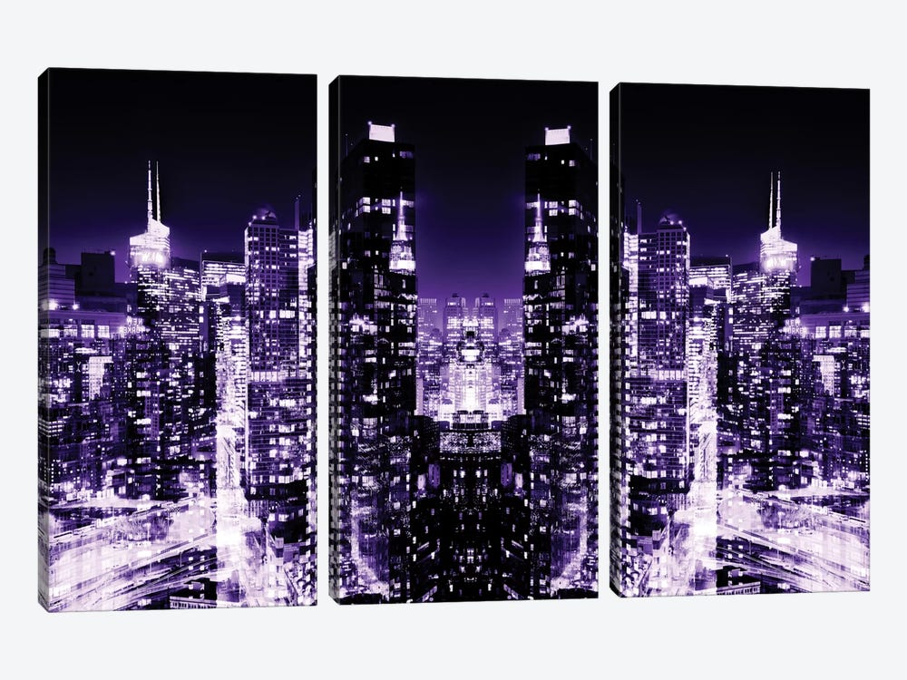 New York Reflection - Skyline at Purple Night by Philippe Hugonnard 3-piece Canvas Print