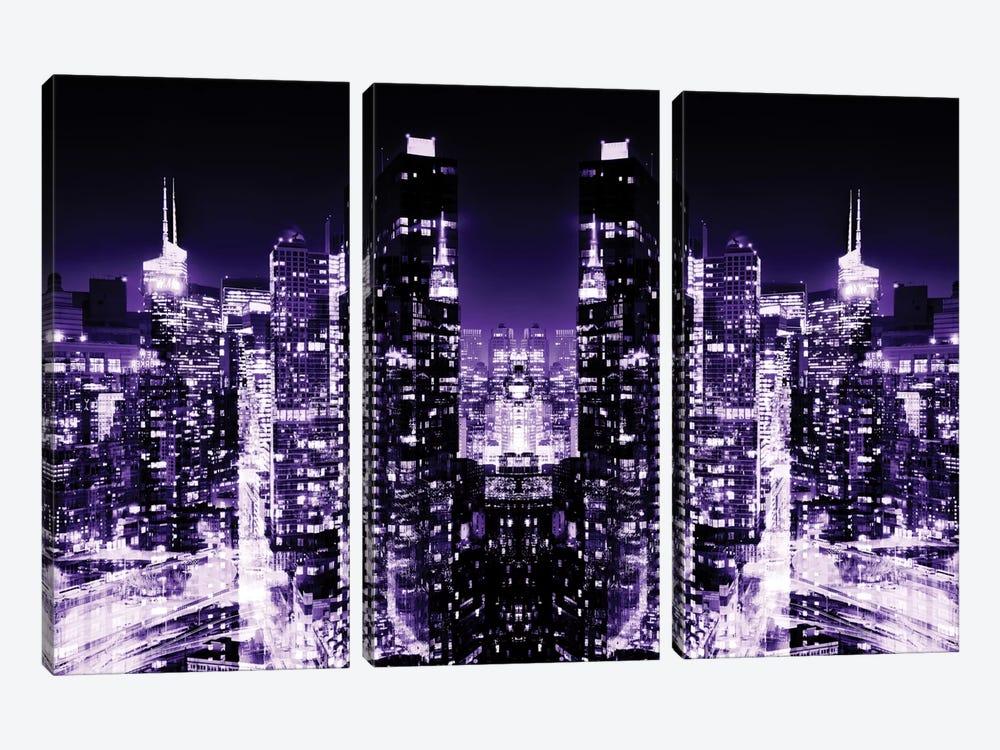 Skyline at Purple Night by Philippe Hugonnard 3-piece Canvas Print
