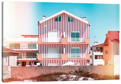 Red Striped House Canvas Art Print