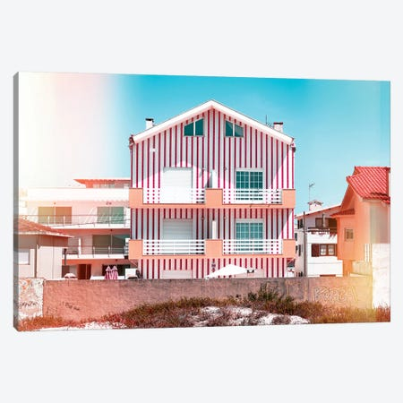 Welcome to Portugal  - Red Striped House Canvas Print #PHD590} by Philippe Hugonnard Canvas Wall Art