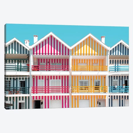 Welcome to Portugal  - Four Houses of Striped Colors Canvas Print #PHD593} by Philippe Hugonnard Canvas Art