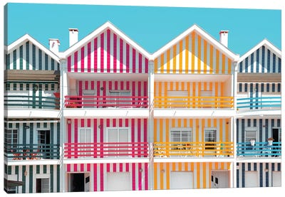 Four Houses of Striped Colors Canvas Art Print