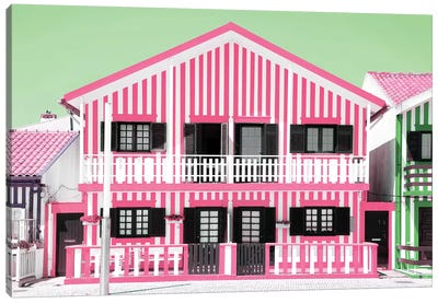 Pink Striped House Canvas Art Print